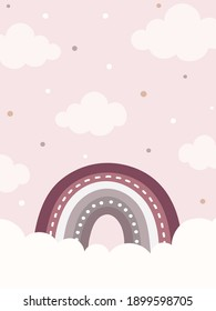 Sky background with rainbow and clouds in blush pink, mauve, and warm gray. Hand drawn rainbow and clouds. For web banner, poster, wall paper, cards, and more.