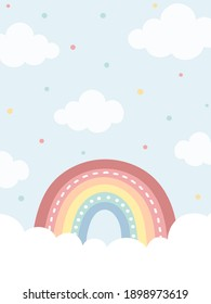 Sky background with rainbow and clouds in pastel colors. Hand drawn rainbow and clouds. For web banner, poster, wall paper, cards, and more.