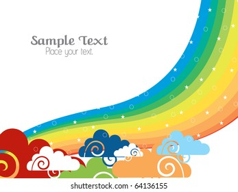 sky background with rainbow, vector wallpaper for rainy day