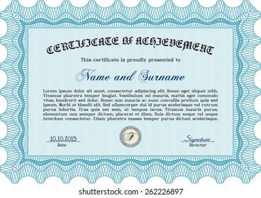 Sky blue certificate or diploma template. Horizontal.