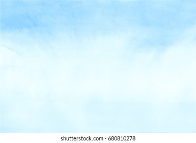 Sky blue watercolor. Painted clouds. Sea landscape Abstract  background. Vector illustration.