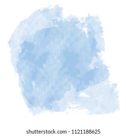 sky blue watercolor stain splash pattern on white background, vector illustration