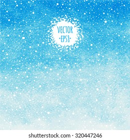 Sky blue winter watercolor abstract background  with falling snow splash texture. Christmas, New Year painted template. Gradient fill. Hand drawn snowfall texture. Snowflakes are removable.