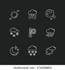 Sky clarity and precipitation chalk white icons set on black background. Seasonal weather forecast, meteorological report. Atmosphere condition prediction. Isolated vector chalkboard illustrations
