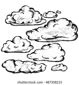Sky with cloud closeup. Vector illustration, doodle style