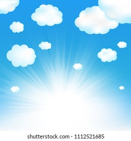 Sky And Cloud With Gradient Mesh, Vector Illustration