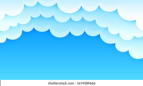Sky and clouds background. Abstract sunny day. Simple cartoon design. Stylish design for banner, brochure and flyer. Vector clouds background