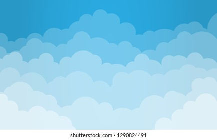 Sky and Clouds Background. Stylish design with a flat poster, flyers, postcards, web banners. Cartoon style. Isolated Object. Vector illustration.