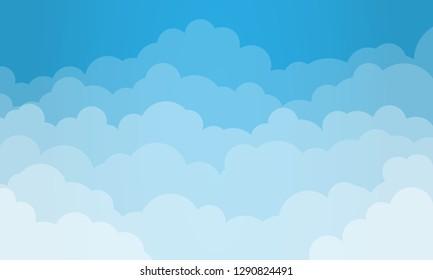 Hintergrund Himmel und Wolken. Stilvolles Design mit einem Plakat, Flyer, Postkarten, Webbannern. Cartoon-Stil. Isoliertes Objekt. Vektorgrafik.