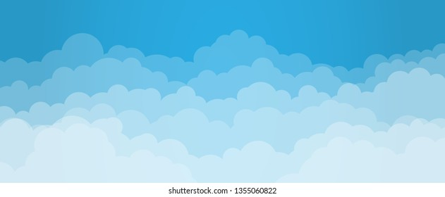 Sky and Clouds, Beautiful Background. Stylish design with a flat, cartoon poster, flyers, postcards, web banners. holiday mood, airy atmosphere. Isolated Object. Wide Size. Vector illustration.