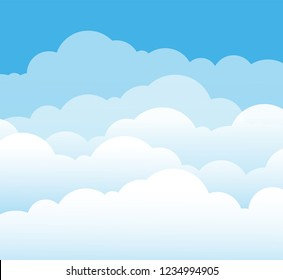 Sky and clouds. Cartoon cloudy background. Heaven scene with blue sky and white cloud. Vector illustration