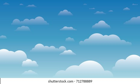 Sky with clouds on a sunny day - vector illustration