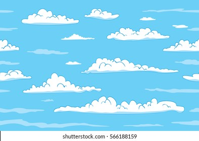 Sky with clouds seamless background. Vector illustration
