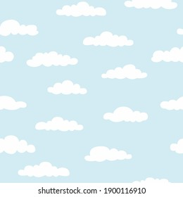 Sky with clouds. Seamless pattern. Vector illustration.