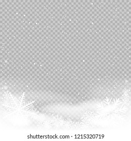 Sky clouds and snow winter on transparent background. Frosty close-up wintry snowflakes. Ice shape pattern. Christmas holiday decoration backdrop
