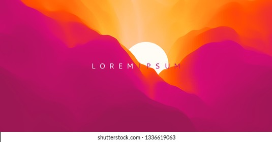 Sky with clouds and sun. Landscape with mountains. Sunset. Mountainous terrain. Abstract background. Vector illustration for advertising, marketing, presentation.