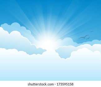 Sky with clouds, and sun with rays.