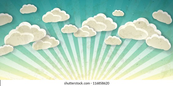 Sky with clouds. Vector vintage background