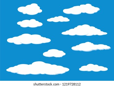 sky clouds white blue vector background