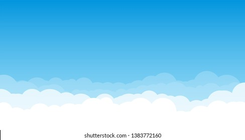 Sky with clouds wide background. Blue sky with white clouds on background. Cartoon, flat style background of sky and clouds. Spring and summer light blue cloudscape.