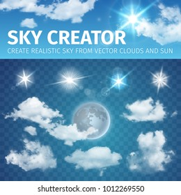 Sky creator. Set realistic clouds and sun. Vector illustration EPS 10
