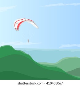 Sky diver flying on a paraglider in the blue sky over green hills, eps10 vector illustration. Concept is taking breath away, feelings of freedom and cheerfulness by paragliding. Counter light by sun.