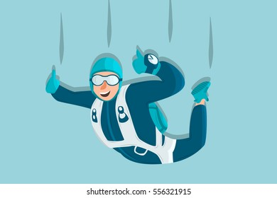 Sky diving cartoon sportsman. Comic character