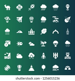 sky icon set. Collection of 36 filled sky icons included Rainbow, Blizzard, Cotton candy, Tower, Hot air balloon, Skii, Pilot, Uranus, Rocket, Storm, Cloudy, Cliff, Rain, Parachute