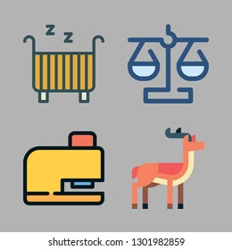 sky icon set. vector set about cradle, drilling, antelope and balance icons set.