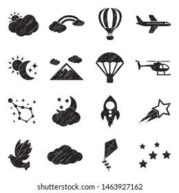 Sky Icons. Black Scribble Design. Vector Illustration.