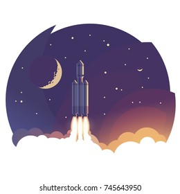 To the sky. Illustration of rocket launch/flying above clouds. Vector.