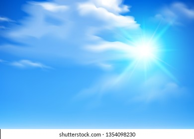 Sky landscape with bright sunbeams and clouds