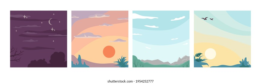 Sky landscape different times of day and night, flat cartoon backgrounds. Vector moons and star, sunrise and sunset, cloudless summer view of skyline with flying birds. Dreaming, inspiration concept