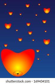 Sky lanterns heart