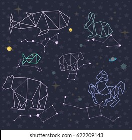 Sky map with constellation. Stars, planet and space. Vector illustration