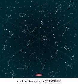 sky map of hemisphere on dark background. vector illustration