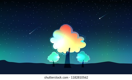 sky at night and meteor with trees. Background vector.