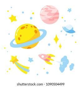 Sky with planets, rocket and stars.