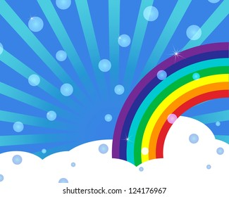 sky with rainbow and bubbles abstract vector background