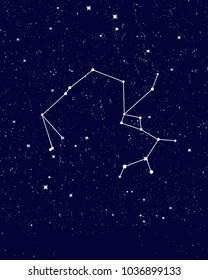 Sky with sagittarius horoscope constellation