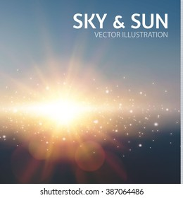 Sky & Sun. Realistic Blur Design. Abstract Shining Background. Vector illustration