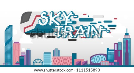 sky train banner template city lanscape stock vector royalty free