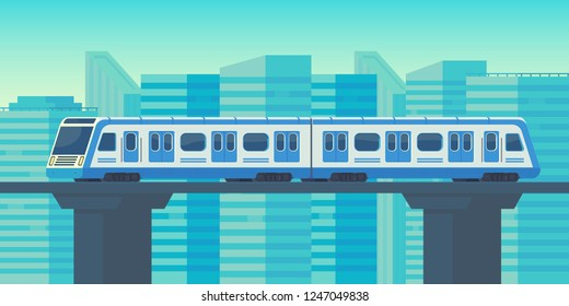 Sky train moving to station in city. Mass rapid transit system. Public transport. Vector flat illustration.