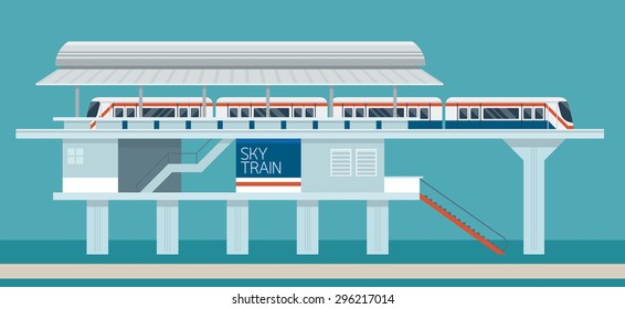 Sky train Station Flat Design Illustration Icons Objects, Side View