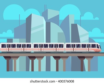 Sky Train, Subway Landscape Flat Concept. Vector train transportation concept on city backdrop
