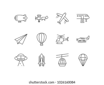 Sky transportation, air vehicle with airship, airplane, hot balloon, helicopter, seaplane, ufo, spaceship, cable car, parachute.