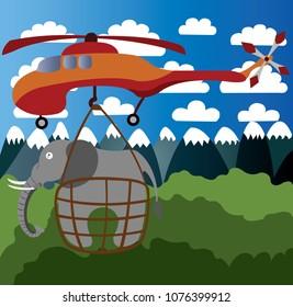 A skycrane lifts a heavy elephant cargo