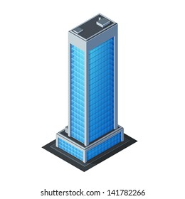Skycraper Business Center Building, Office, For Real Estate Brochures Or Web Icon. Isometric Vector EPS10