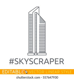 Skycraper. Editable line icon. Stock vector illustration.