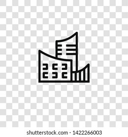 skycraper icon from BUILDING ARCHITECTURE collection for mobile concept and web apps icon. Transparent outline, thin line skycraper icon for website design and mobile, app development